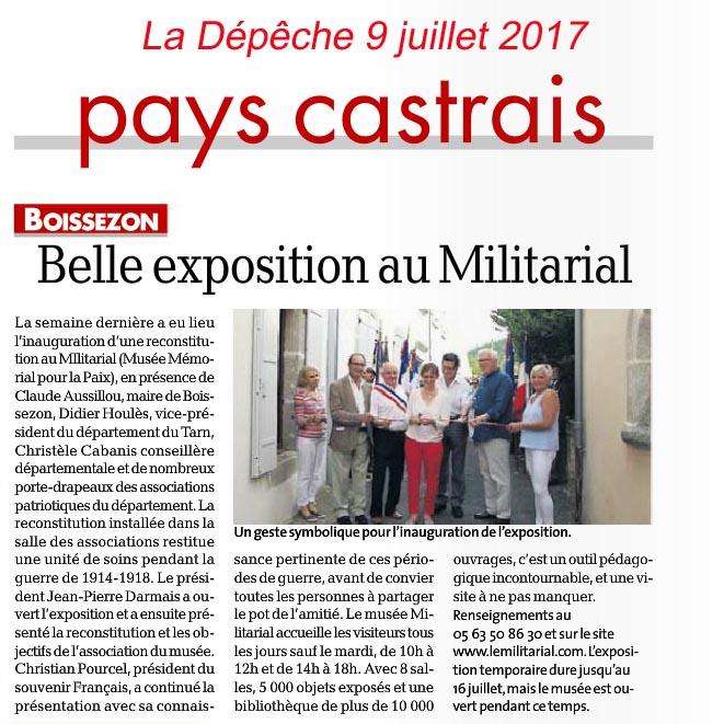 La Dépêche 9 juillet 2017 - Exposition au Musée