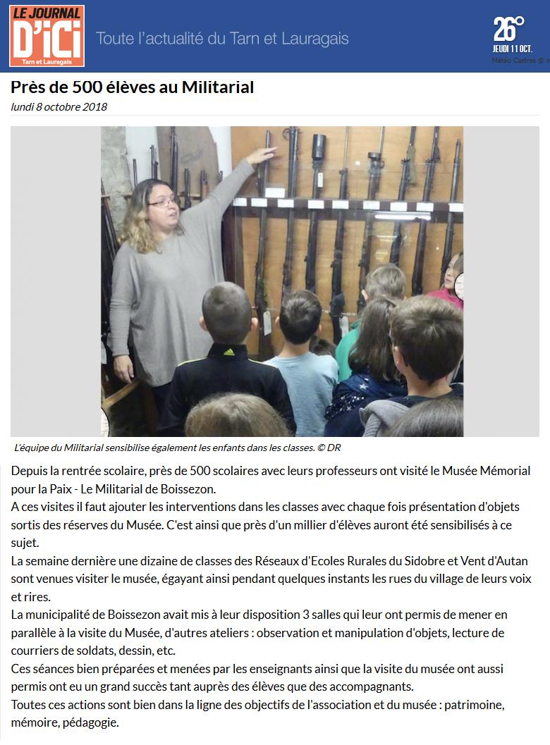 Journal d'Ici 11 oct 2018 - Visite de scolaires