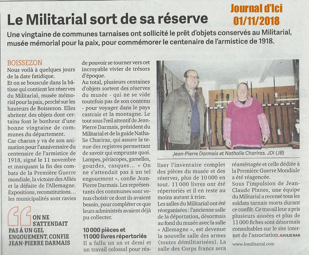 Le Journal d'Ici 1er nov 2018 - Le Militarial sort de sa réserve